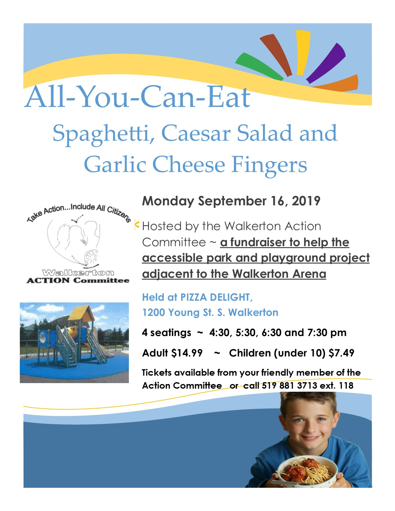 poster with photo of a playground and spaghetti and Action Committee logo
