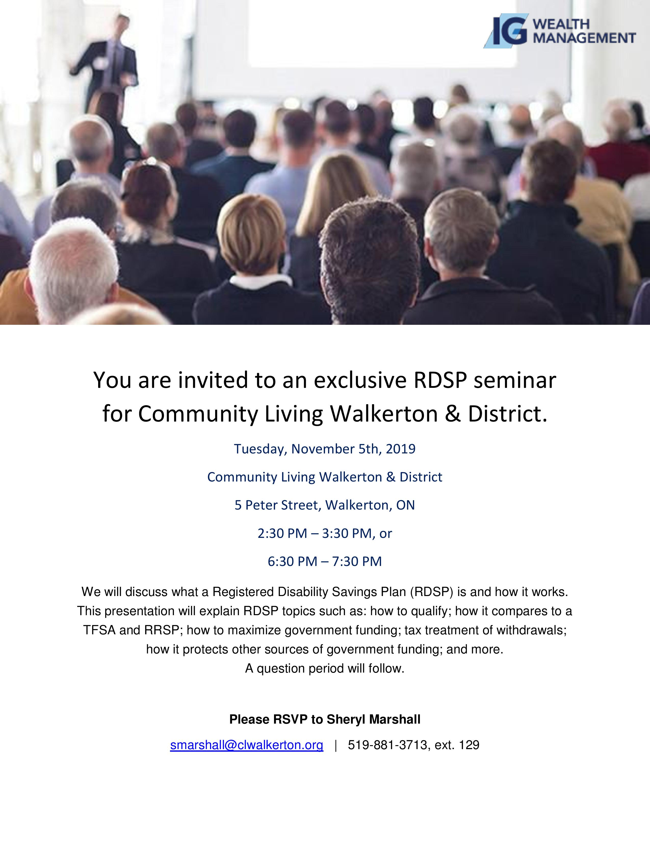 Inviation poster fior RSDP session Nov. 5 in Walkerton
