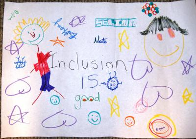 Paper with drawing and the words 'Inclusion is good'.